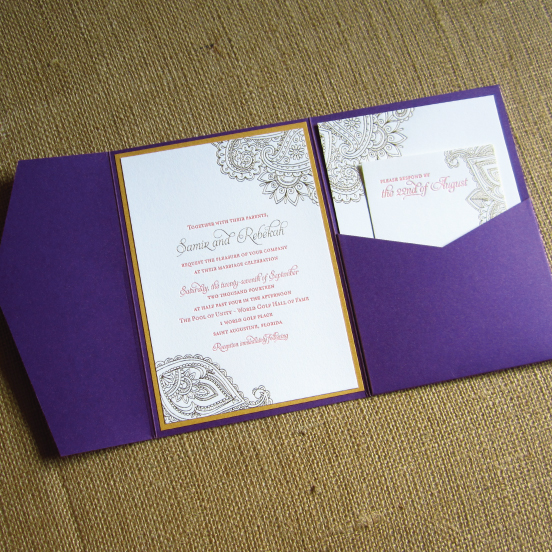 Henna inspired letterpress wedding invitations
