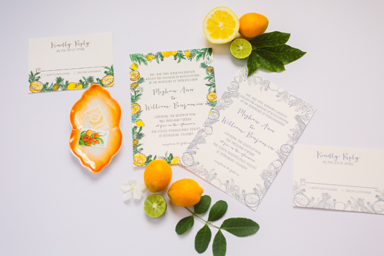 Citrus Inspired Watercolor Invitations