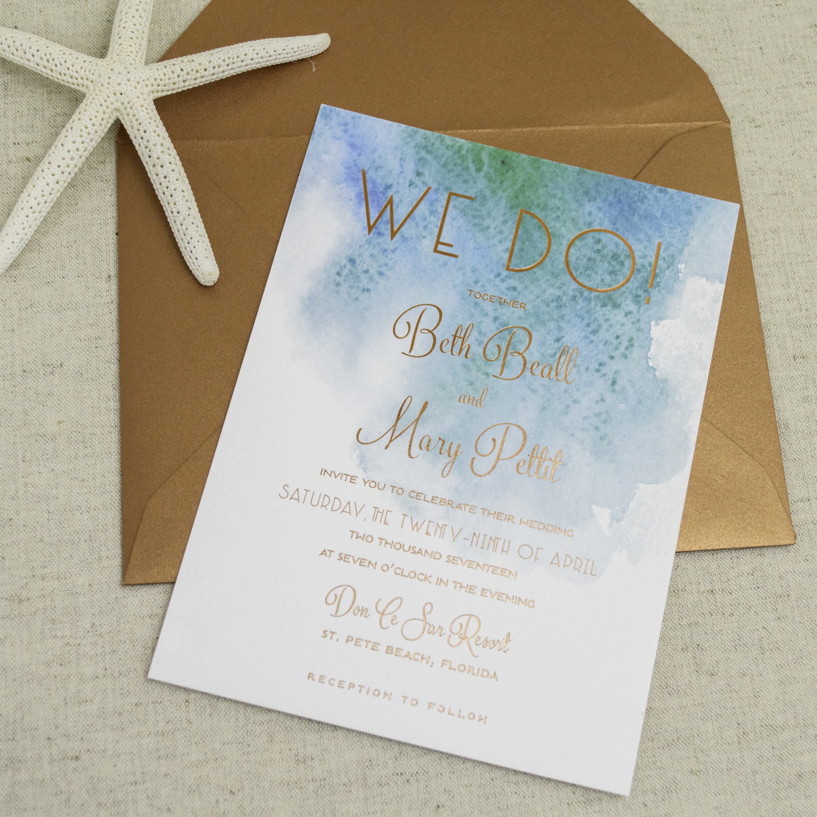 Modern Beach Themed Wedding Invitations - A&P Designs