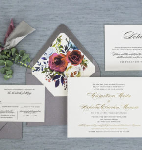 Elegant Script Letterpress & Foil Wedding Invitations