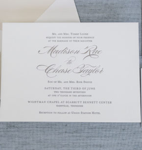 Elegant Script Letterpress Wedding Invitations