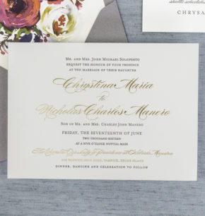 Classic Elegant Letterpress Wedding Invitations