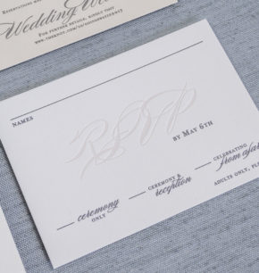 Traditional Elegant Letterpress Wedding Invitations