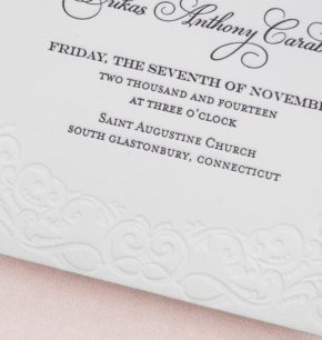 Vintage Inspired Letterpress Wedding Invitations