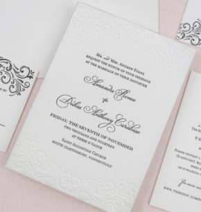 Elegant St. Augustine Florida Letterpress Wedding Invitations