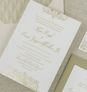 Vintage inspired affordable elegant letterpress wedding invitations