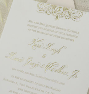 Vintage inspired elegant letterpress wedding invitations