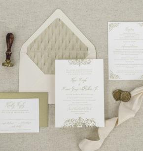 classy vintage letterpress wedding invitations