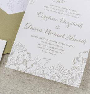 dogwood flowers letterpress wedding invitations