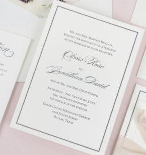 Classy letterpress wedding invitations