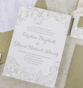 Dogwood letterpress wedding invitations