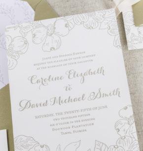 dogwood blossom wedding invitation