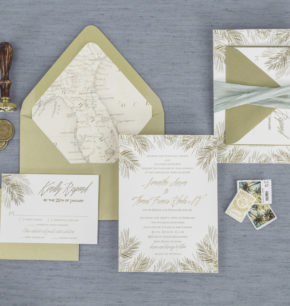 Florida-inspired palm leaf letterpress invitation