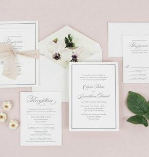 Southern Inspired Classy Letterpress Wedding Invitations