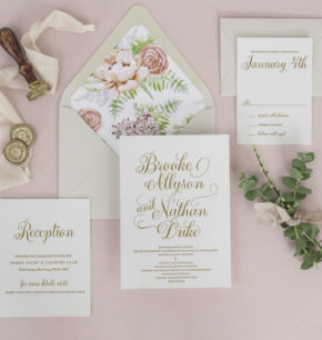Semi custom modern letterpress wedding invitations