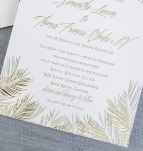 palm leaf inspired letterpress wedding invitations