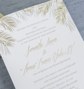 tropical greenery palms leaf letterpress wedding invitations