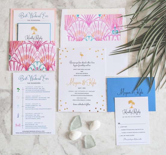 Kate Spade Lilly Pulitzer Inspired Wedding Invitations