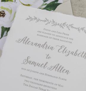 Garden Inspired Letterpress Wedding Invitations
