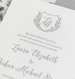 Greenery Monogram Crest Letterpress Invitations