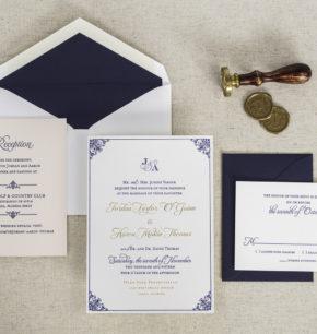 Old Hollywood Inspired Elegant Letterpress Wedding Invitations