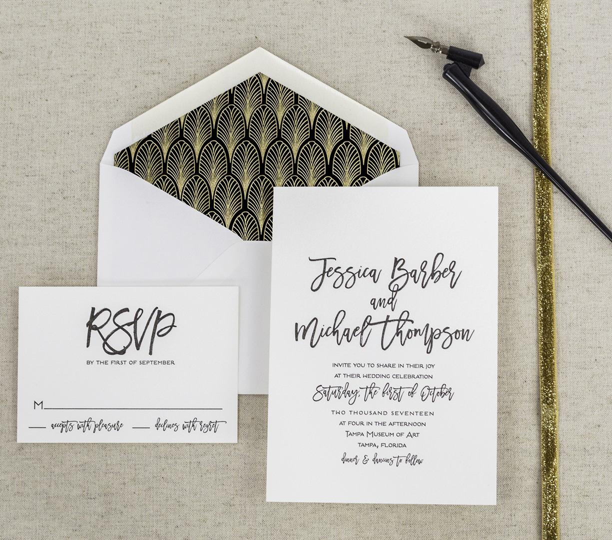 Modern calligraphy affordable letterpress wedding invitations