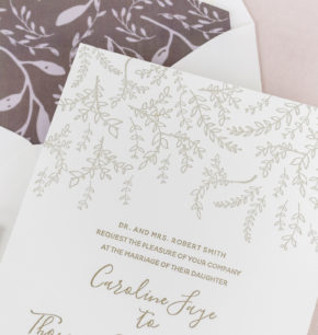 Botanical Affordable Letterpress Wedding Invitations