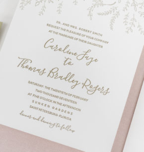 Modern Organic Sunken Gardens Wedding Invitations