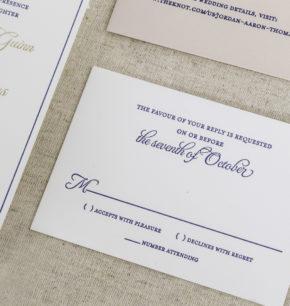Old Hollywood Letterpress Wedding Invitations