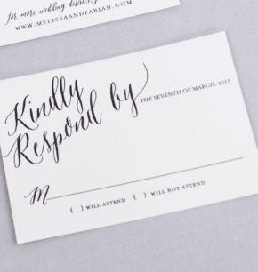 Modern & Bold Calligraphy Letterpress Wedding Invitations