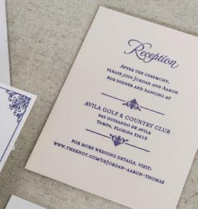 Vintage Inspired Letterpress Wedding Invitations