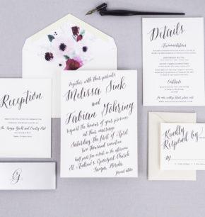 Modern & Bold Script Letterpress Wedding Invitations