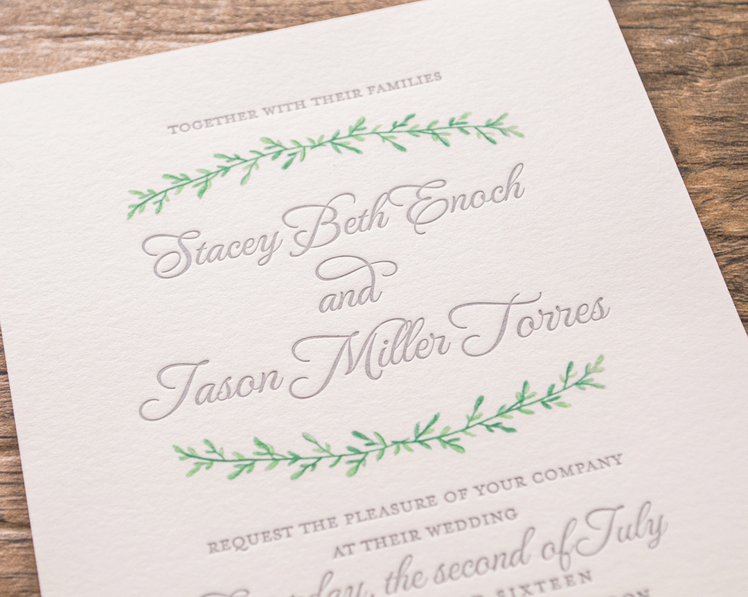 Best Letterpress Wedding Invitations: Botanical-Custom Letterpress Wedding Invitations