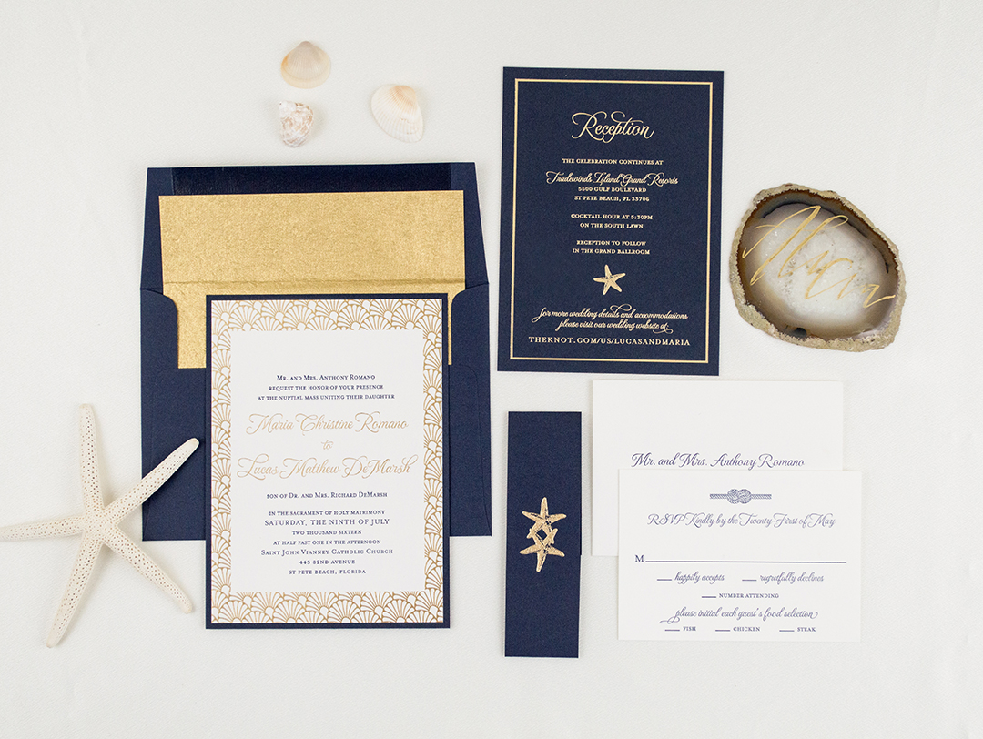 Elegant Letterpress and Foil Wedding Invitations