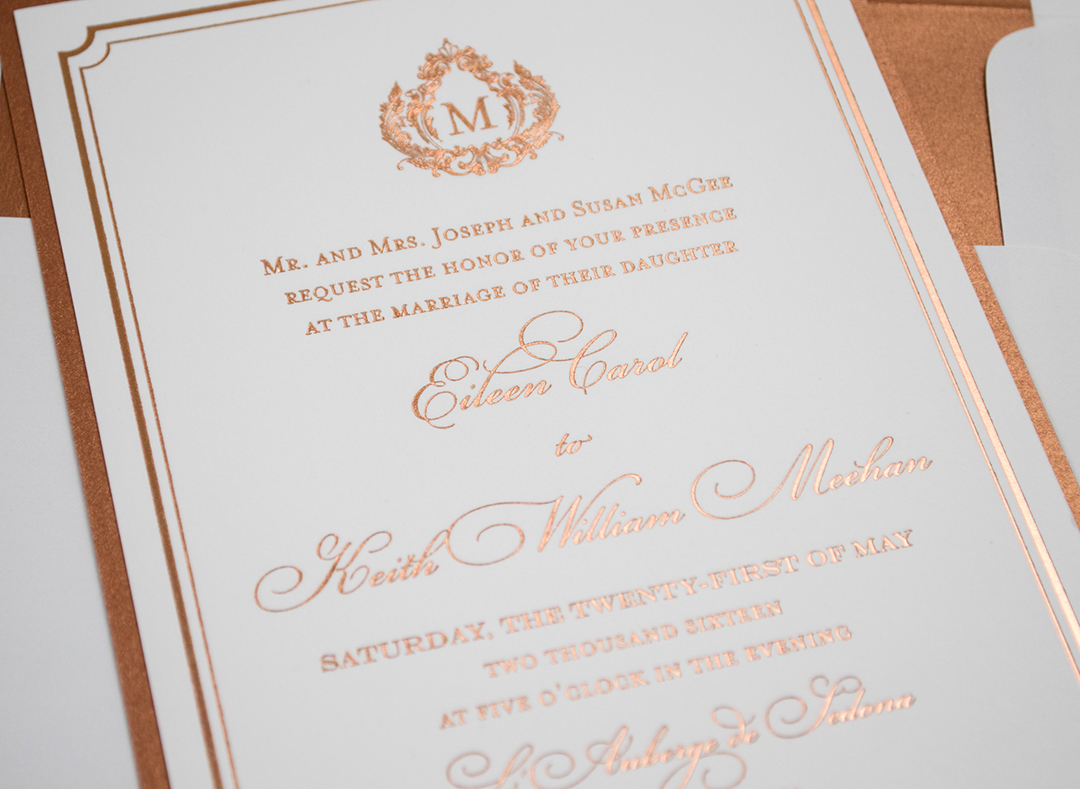 Copper Foil Wedding Invitations