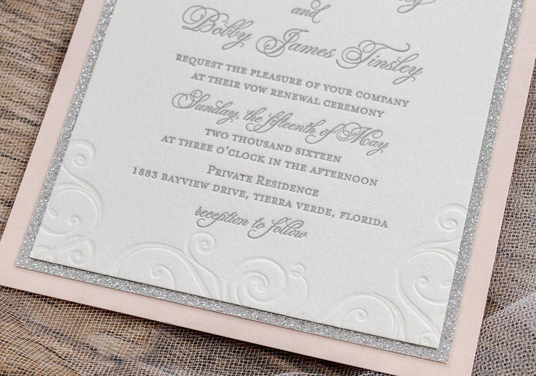 Lettepress Beach Vow Renewal Invitations - A&P Designs