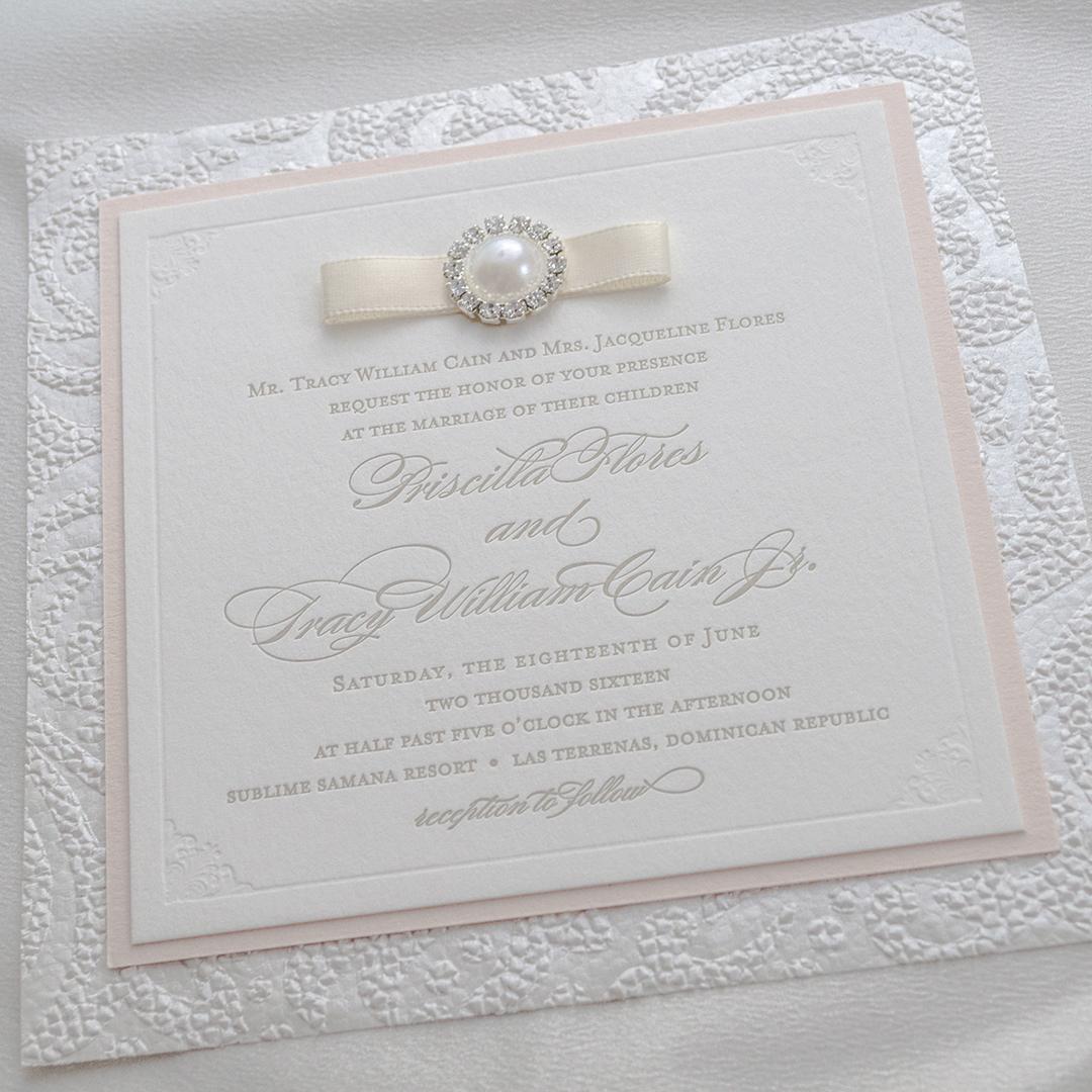 Pearl and Diamonds Wedding Invitations