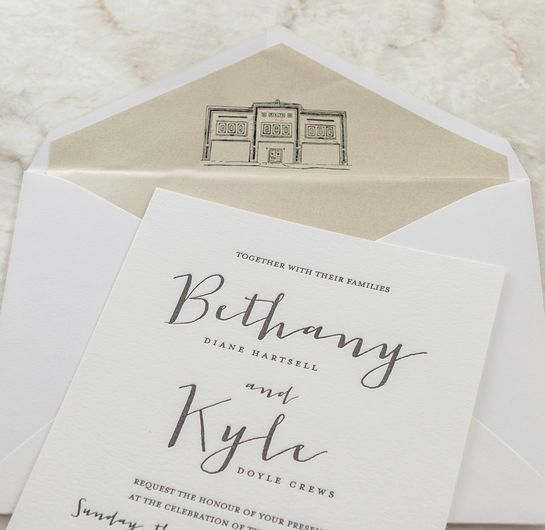 Modern Letterpress Wedding Invites