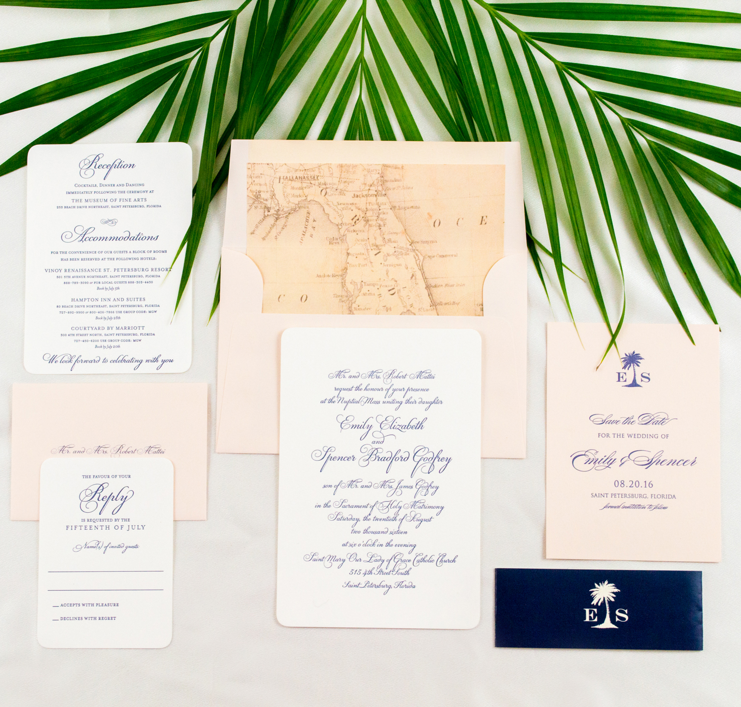 Classy, Florida-Inspired Wedding Invitations