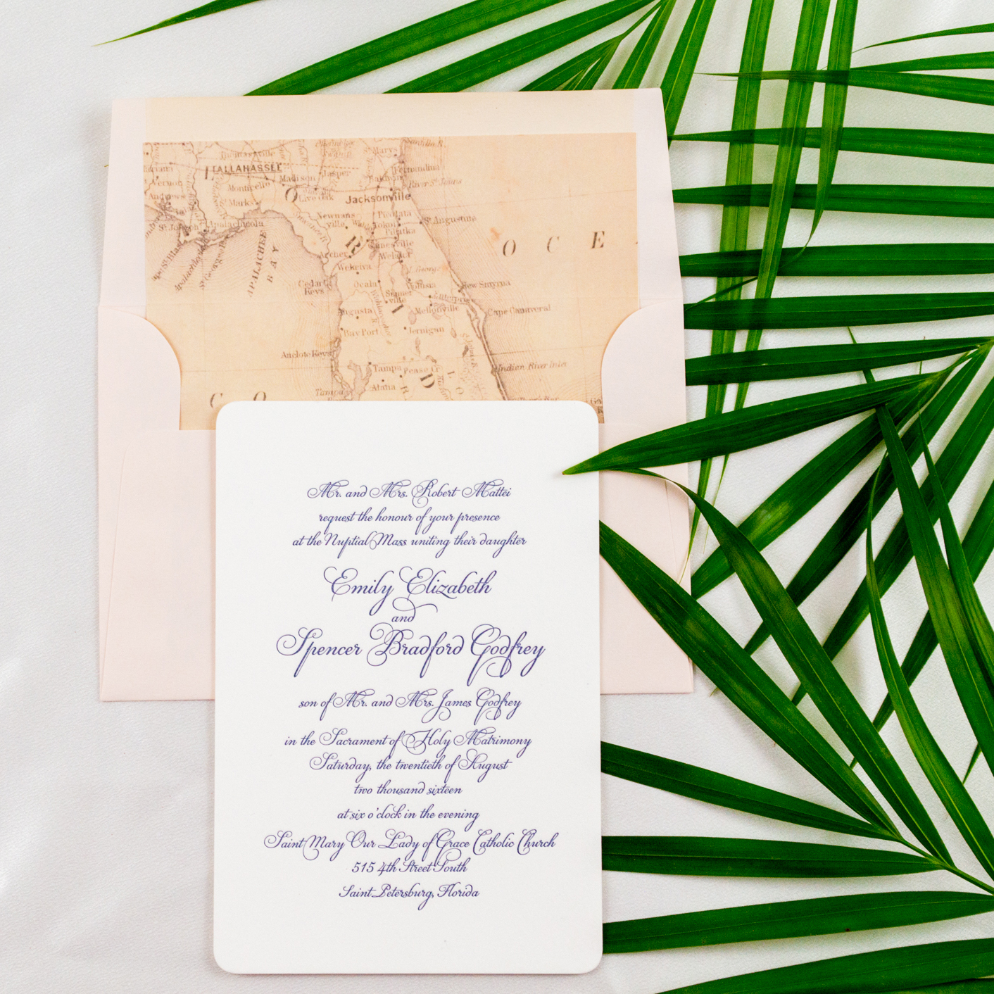Florida Inspired Elegant Wedding Invitation