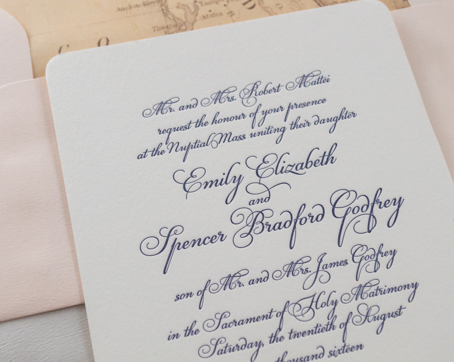 Timeless, Florida-Inspired Wedding Invitation