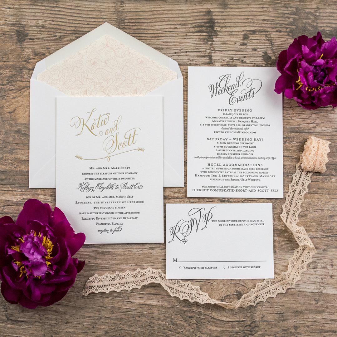Classy, Botanical Wedding Invitations