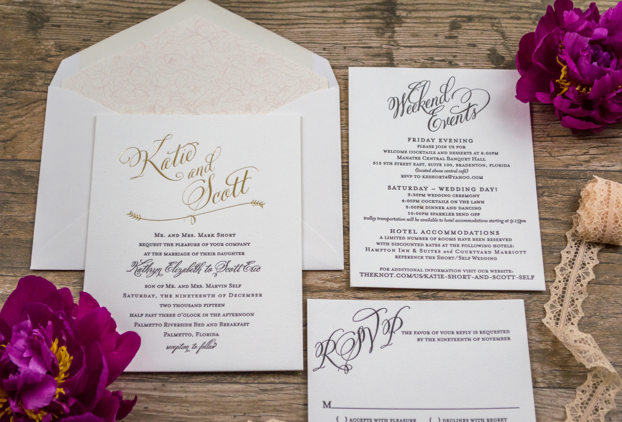 Botanical Lettepress Wedding Invitations