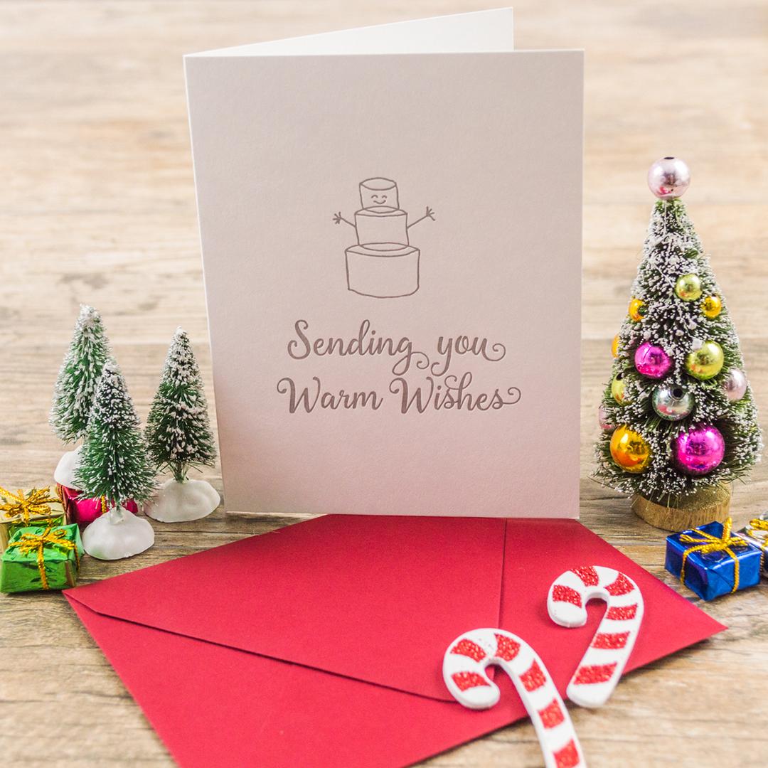 Letterpress Christmas Cards.Letterpress Christmas Card Marshmallow Snowman