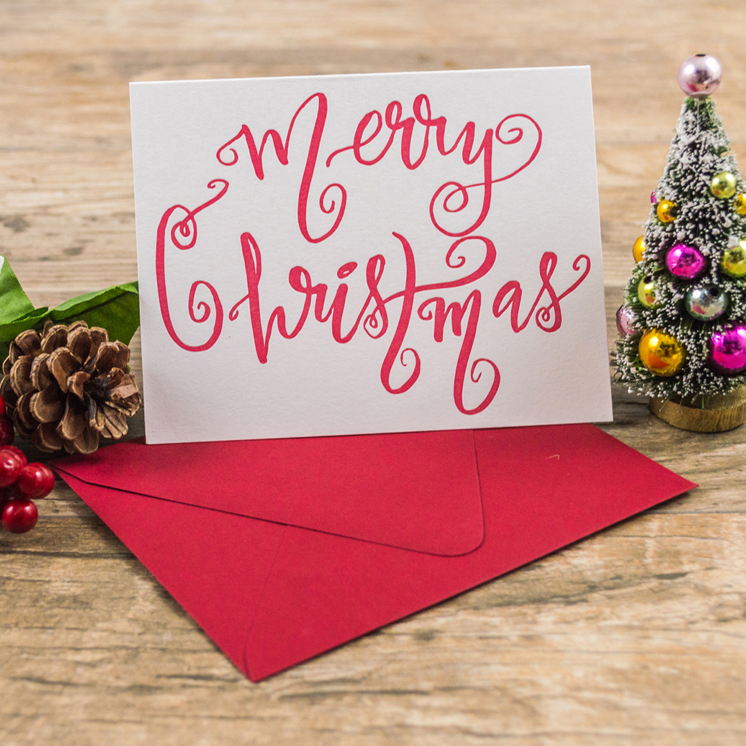 Letterpress Christmas Cards.Letterpress Holiday Greeting Card Merry Christmas