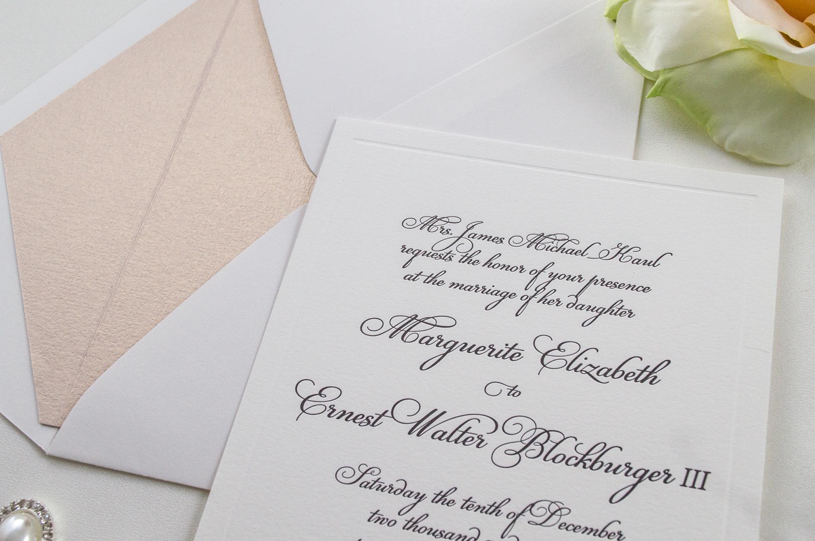 Romantic, Elegant Letterpress-Wedding Invitations - A&P Design