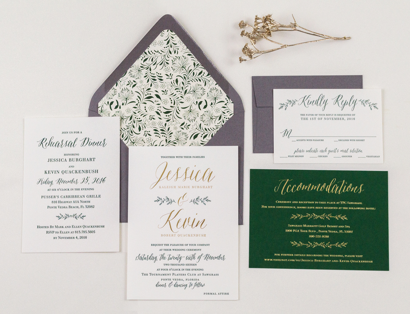Botanical, Letterpress Wedding Invitations