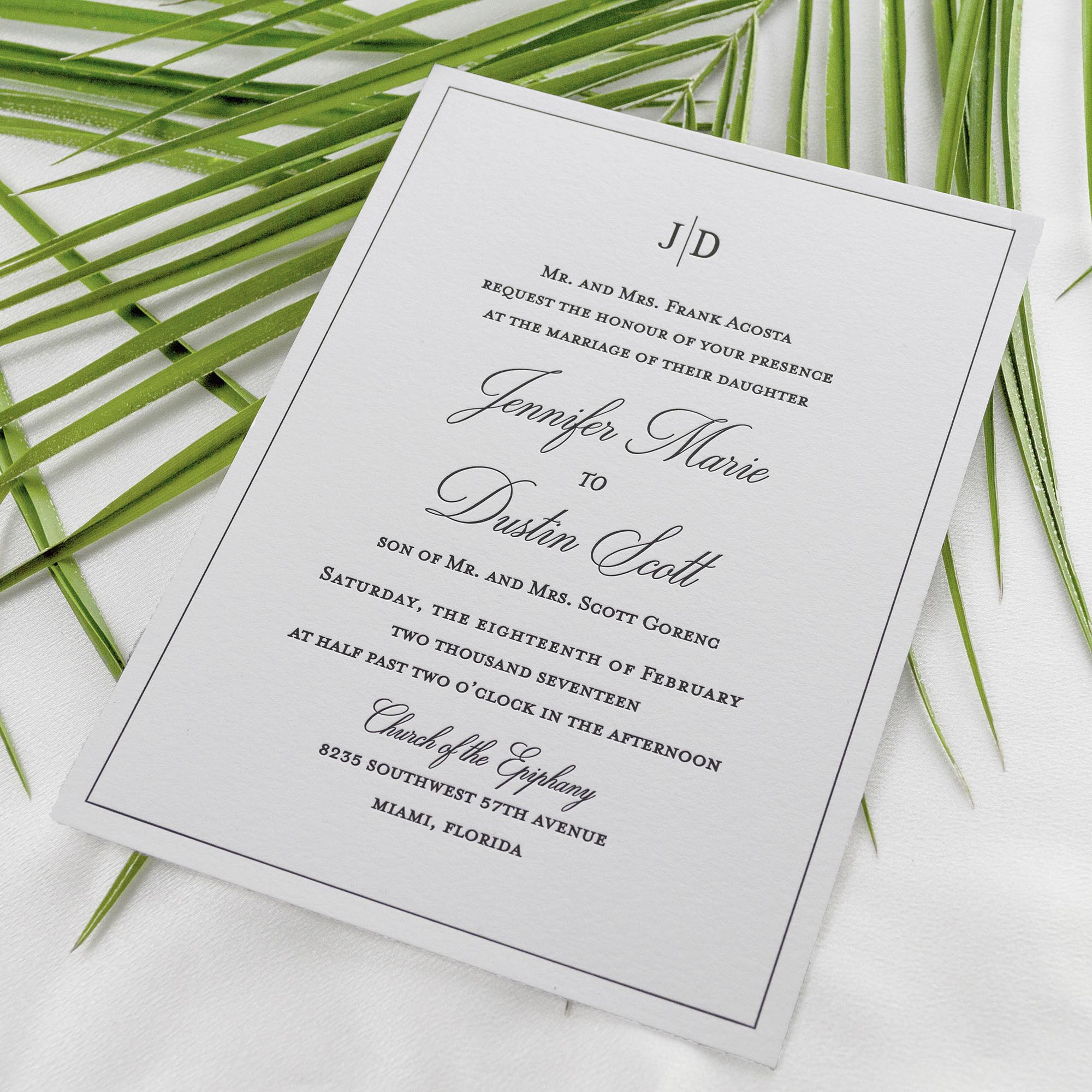 Chic, Minimalist Letterpress Invitations