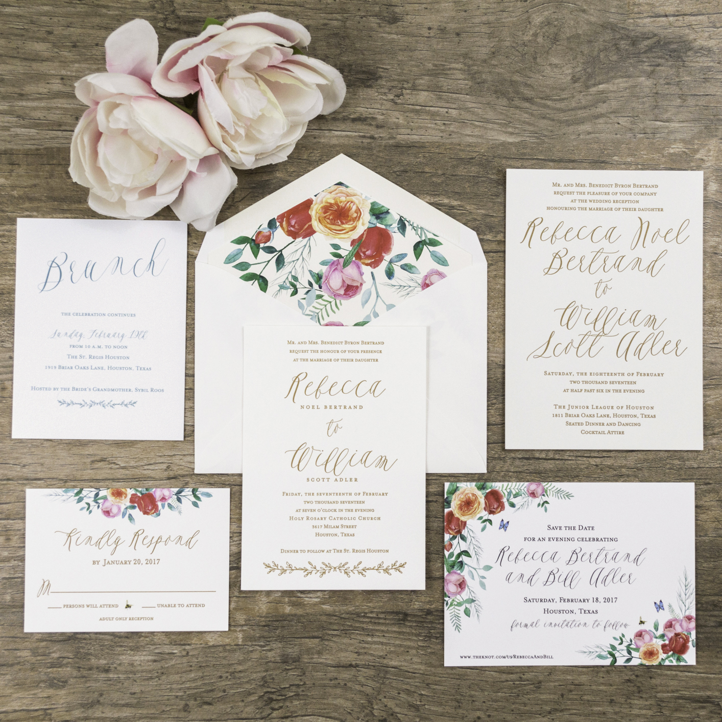 Vintage-Floral Inspired Wedding Invitations - A&P Designs