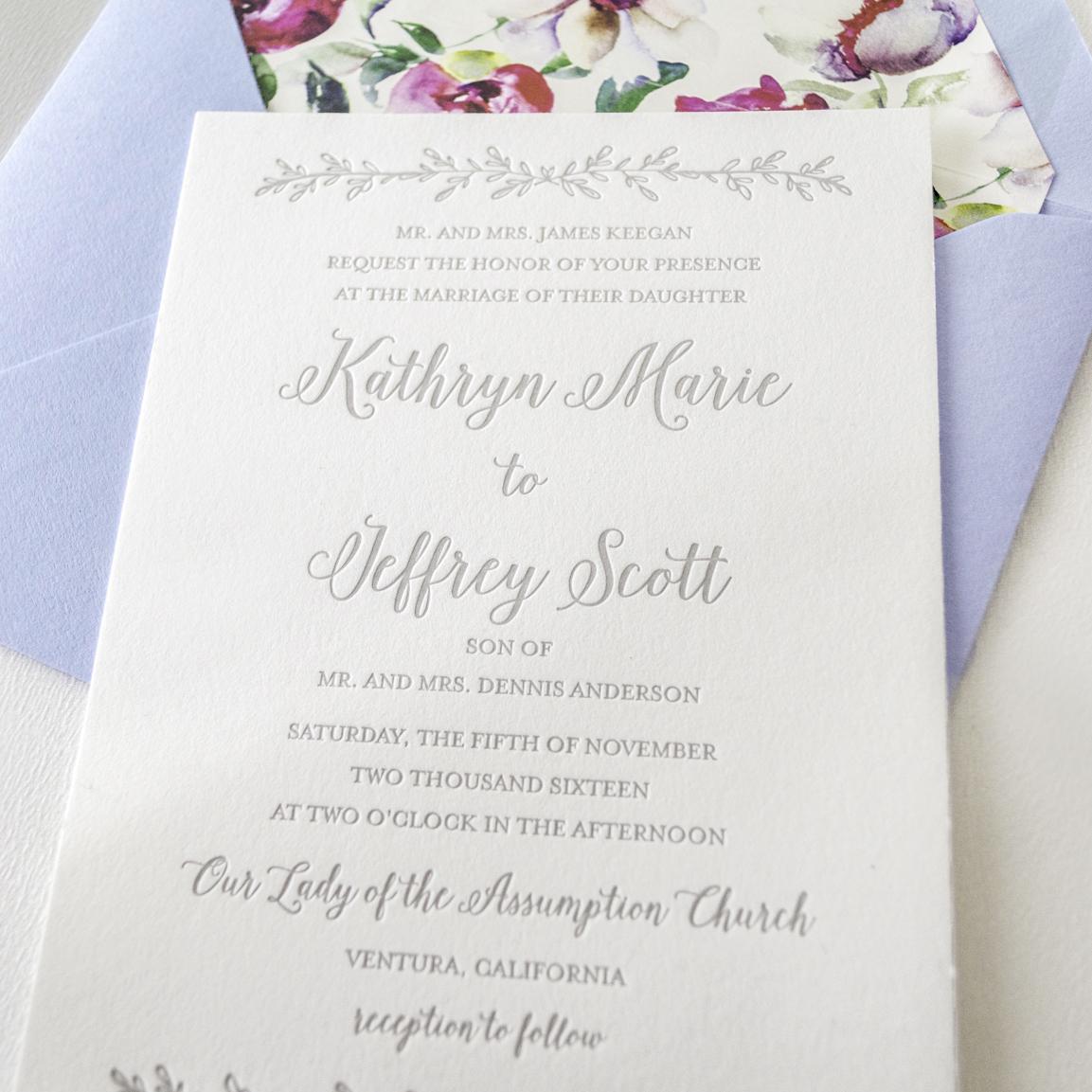 Botanical Letterpress Wedding Invitations